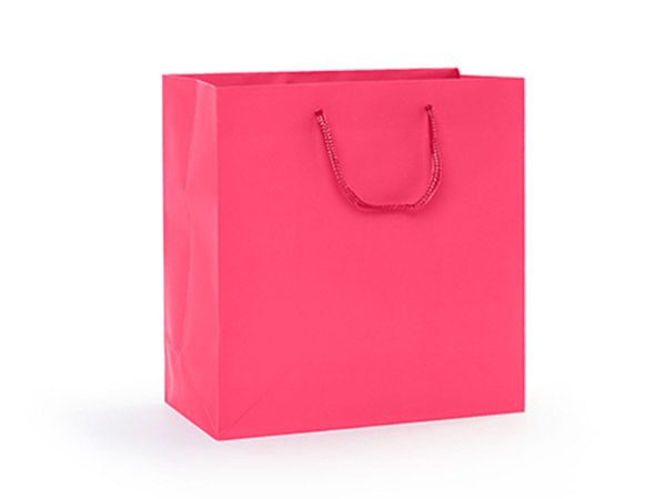 """Hot Pink Matte Gift Bags, Jewel 6.5x3.5x6.5"""", 10 Pack"""