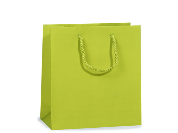 "Lime Matte Gift Bags, Jewel 6.5x3.5x6.5"", 10 Pack"