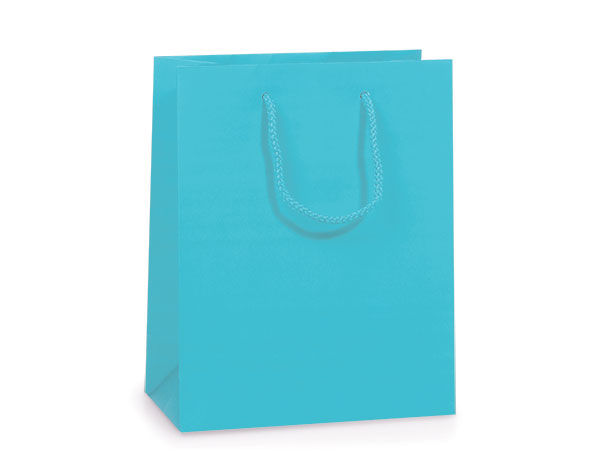 """Turquoise Matte Gift Bags, Jewel 6.5x3.5x6.5"""", 10 Pack"""
