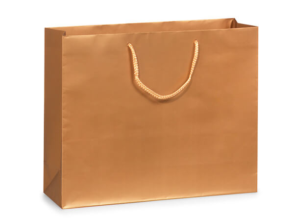 "Metallic Gold Matte Gift Bags, Medium 13x5x10"", 100 Pack"