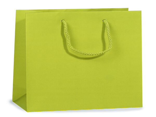 "Lime Matte Gift Bags, Medium 13x5x10"", 100 Pack"