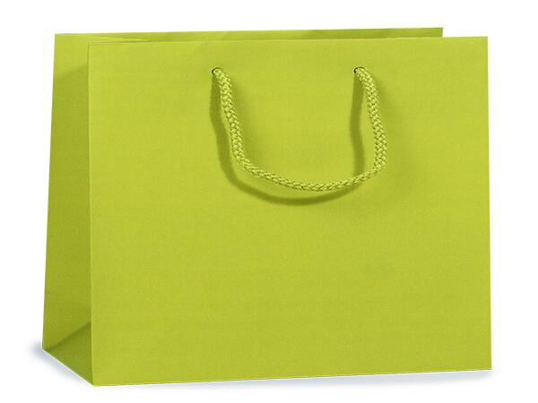 "Lime Matte Gift Bags, Medium 13x5x10"", 10 Pack"