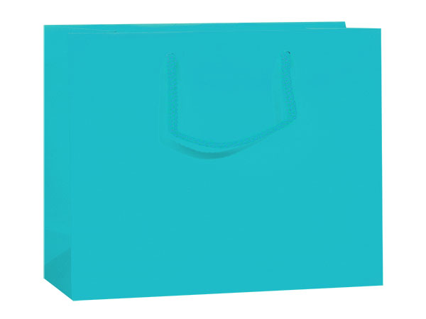 "Turquoise Matte Gift Bags, Medium 13x5x10"", 10 Pack"
