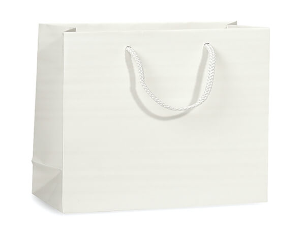 "White Matte Gift Bags, Medium 13x5x10"", 10 Pack"