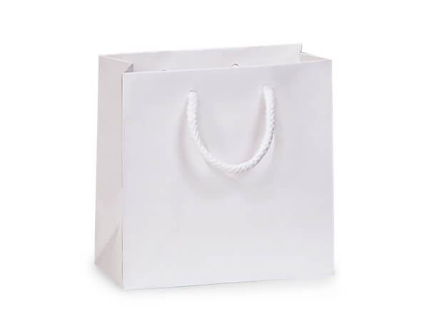"White Matte Gift Bags, Petite 4x2.5x4"", 100 Pack"
