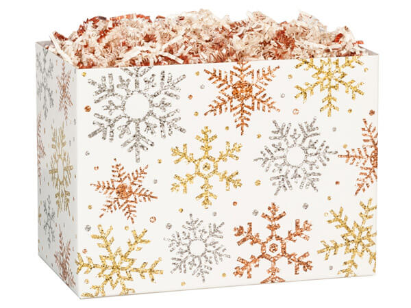 "Metallic Snowflakes Basket Boxes, Large 10.25x6x7.5"", 6 Pack"