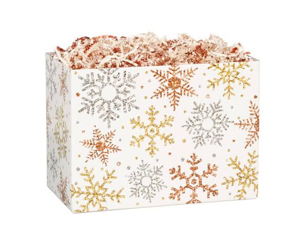 "Metallic Snowflakes Basket Box, Small 6.75x4x5"", 6 Pack"