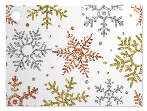 Metallic Snowflakes Theme Gift Cards, 3.75x2.75, 6 Pack