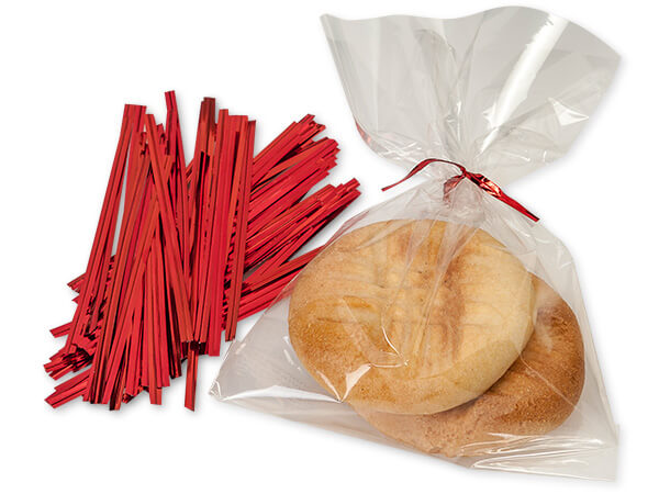 "Metallic Red  4"" Twist Ties 3/16"" Wide - 27 Gauge Single Wire"