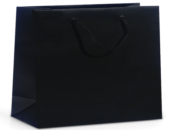 "Black Matte Gift Bags, Vogue 16x6x12"", 100 Pack"