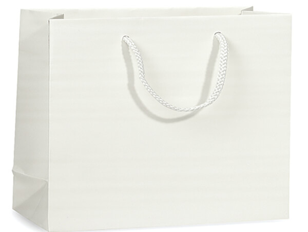 """White Matte Gift Bags, Vogue 16x6x12"""", 10 Pack"""