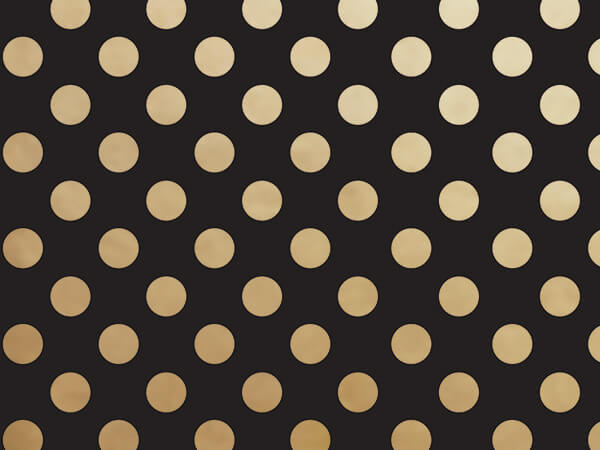 "*Black with Metallic Gold Dots 30""x150' Wrapping Paper Roll"