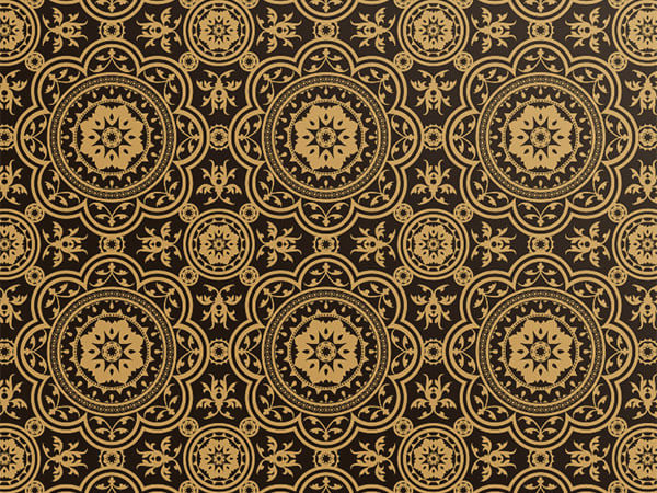 "Metallic Gold Medallions on Black, 30""x50' Wrapping Paper Roll"