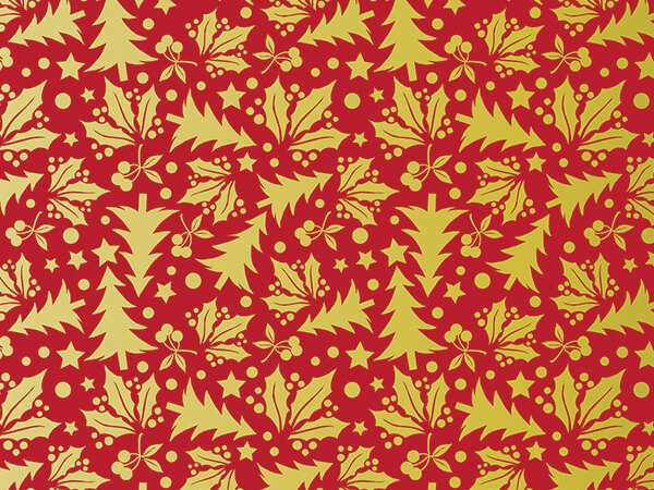 Christmas Gift Wrap Design.Metallic Golden Holly And Christmas Trees 30 X 150 Gift Wrap Roll