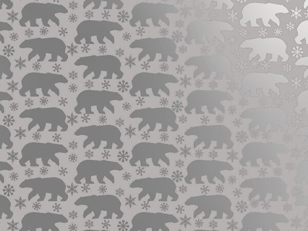 "*Metallic Silver Polar Bears 30"" x 50' Gift Wrap Roll"