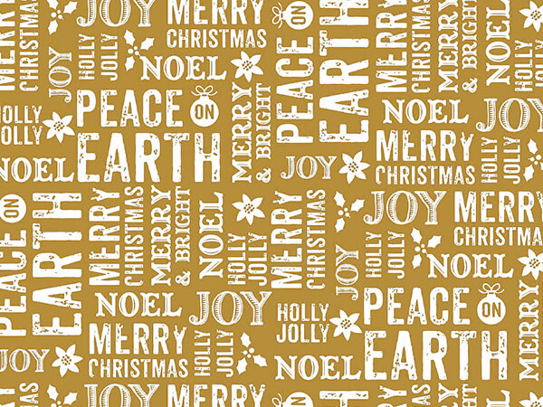 "Metallic Peace On Earth Gold 30"" x 150' Gift Wrap Roll"