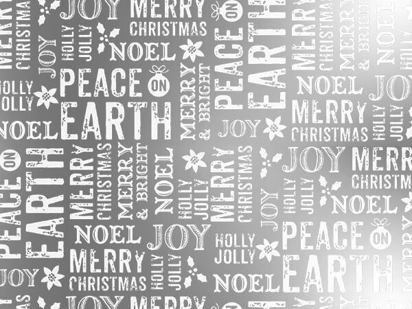 "*Metallic Peace On Earth Silver 30"" x 50' Gift Wrap Roll"