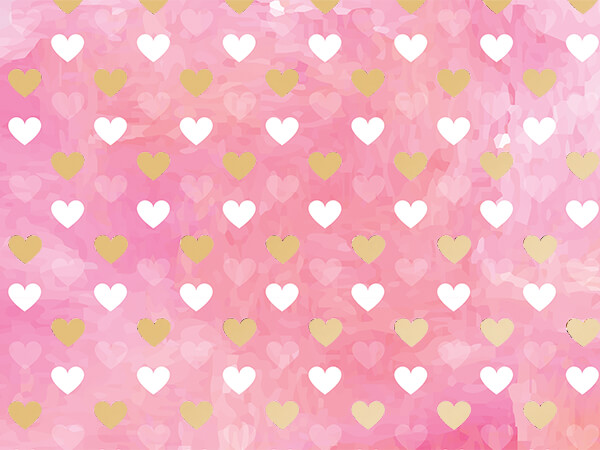 "Metallic Pink Hearts, 30""x50' Wrapping Paper Roll"