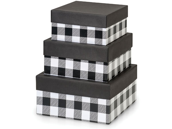 Buffalo Plaid Black Nested Boxes