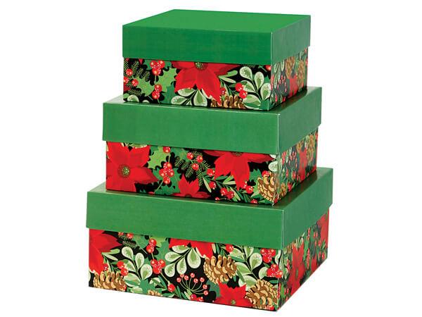 Christmas Botanicals Nested Boxes Large 3 Piece Set
