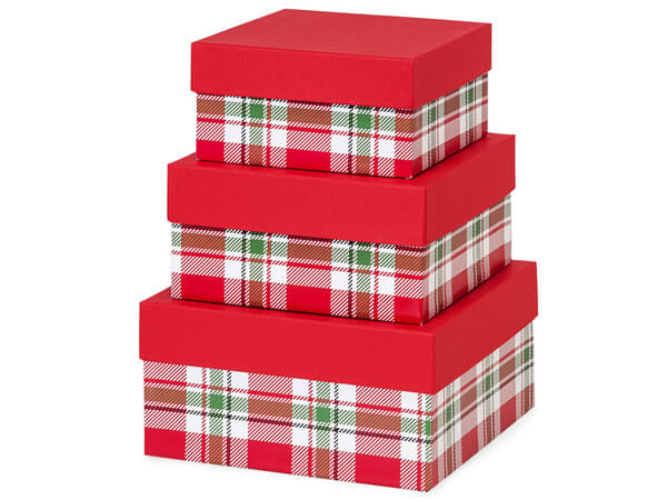 Christmas Plaid Nested Boxes, Large 3 Piece Set