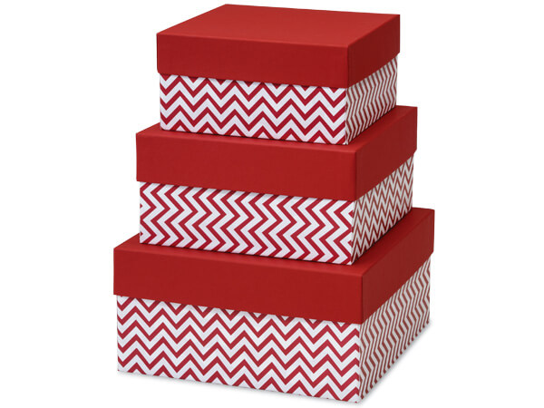 *Chevron Red Nested Boxes Large 3 Piece Square Gift Boxes