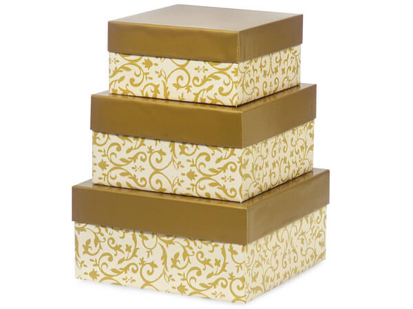 Florentine Tapestry Gold Nested Box Large 3 Piece Set