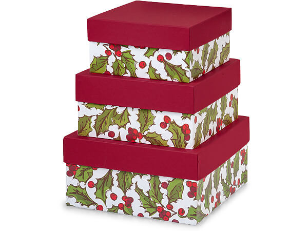 Holly Berry Tidings Nested Boxes Large 3 Piece Set