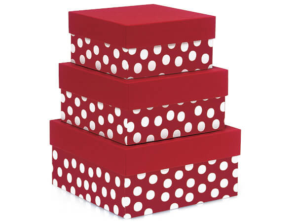 Polka Dot Red Nested Boxes Large 3 Piece Set