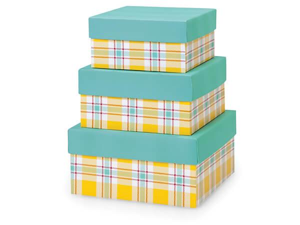 Sunshine Plaid Nested Boxes, Large 3 Piece Set