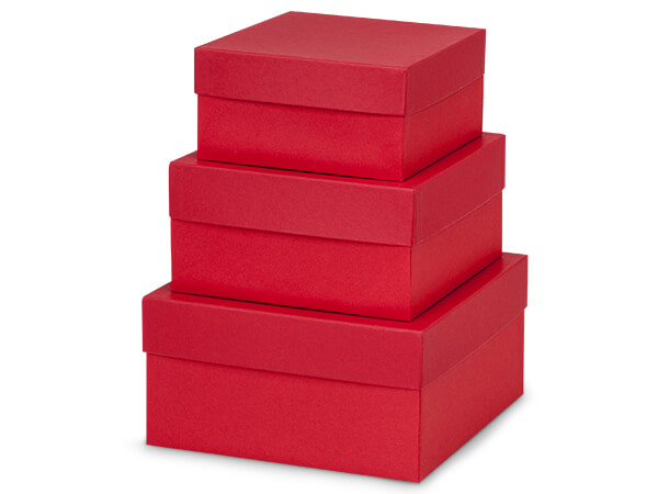 Wild Cherry Red Nested Boxes, Large 3 Piece Set