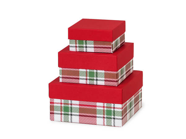 Christmas Plaid Nested Boxes, Small 3 Piece Set