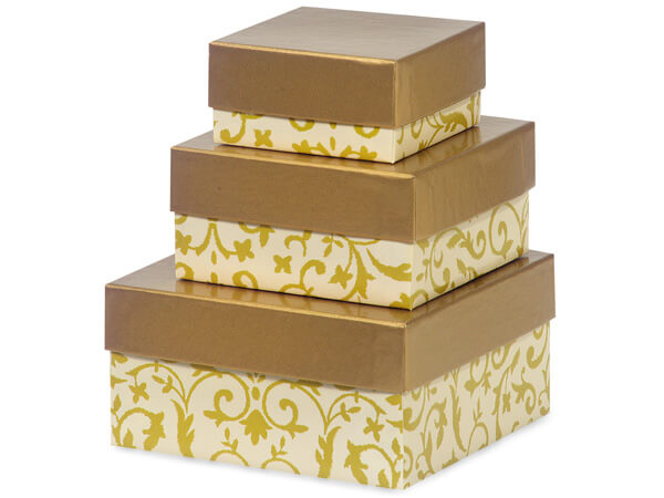 Florentine Tapestry Gold Nested Boxes, Small 3 Piece Set