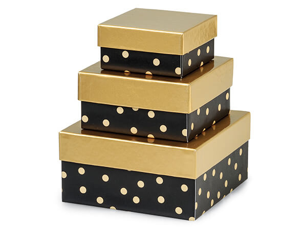 Golden Midnight Nested Boxes, Small 3 Piece Set