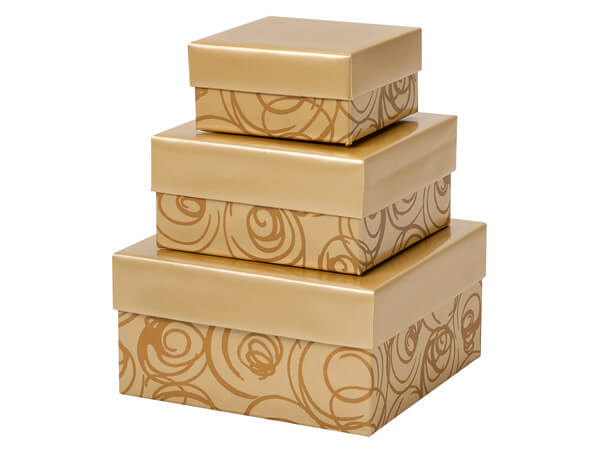 Golden Scroll Nested Boxes, Small 3 Piece Set