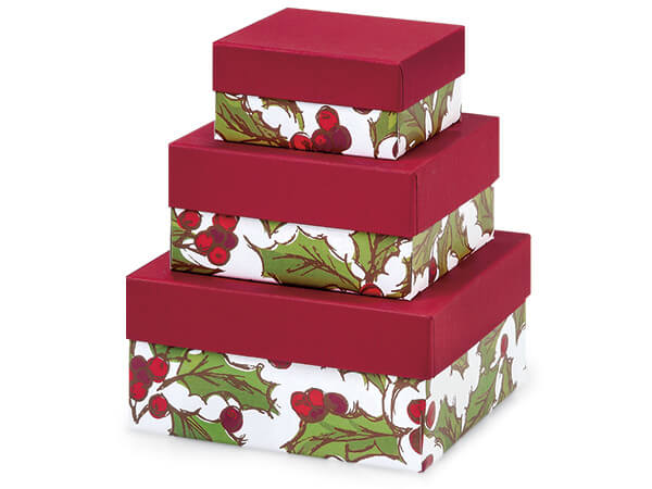 Holly Berry Tidings Tower Nested Boxes