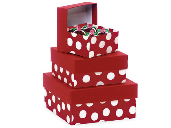 Polka Dot Red Nested Boxes Small 3 Piece Set