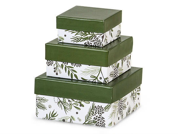 Pine Holiday Nested Boxes Small 3 Piece Set