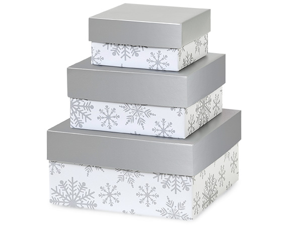 Silver Snowflakes Nested Boxes Small 3 Piece Set