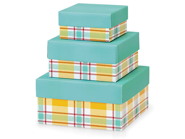 Sunshine Plaid Nested Tower Boxes