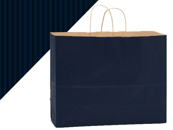"Navy Blue Shadow Stripe Kraft Bags Vogue 16x6x13"", 250 Pack"