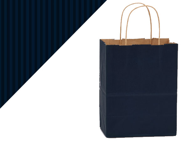 Cub Navy Blue Shadow Stripe Bags 25 Pk 8x4-3/4x10-1/2""