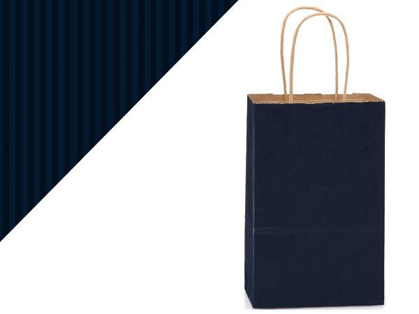 "Navy Blue Shadow Stripe Kraft Bags Rose 5.5x3.25x8.375"", 25 Pack"