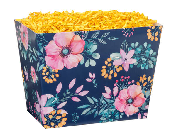 *Large Navy Blue Floral Angled Basket Boxes 10-1/4x6x7-1/2""
