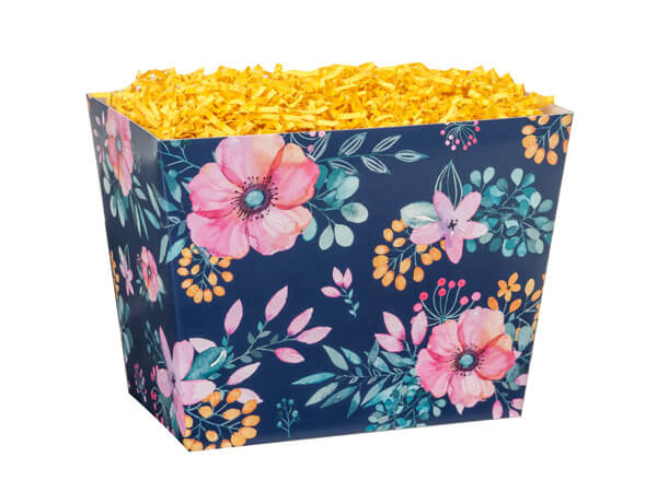 """*Small Navy Blue Floral Angled Basket Boxes 6-3/4x4-1/2x5"""""""