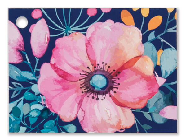 """Navy Blue Floral Theme Gift Cards 3-3/4x2-3/4"""""""