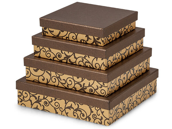 *Chocolate Scroll Nested Gourmet Boxes ~ Set of 4