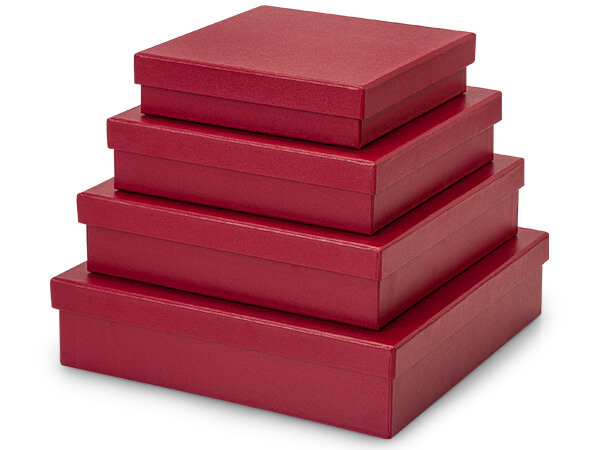 *Embossed Red Nested Gourmet Boxes ~ Set of 4