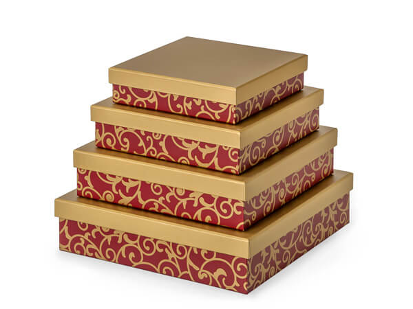 Elegant Red Scroll Nested Gourmet Boxes ~ Set of 4