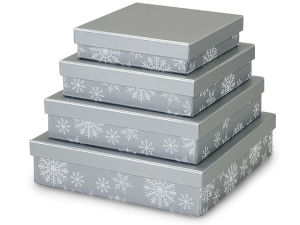 Silver Snowflakes Nested Gourmet Boxes ~ Set of 4